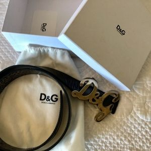 D&G black leather belt